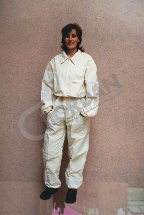 OVERALL in white cotton with elasticated wrists